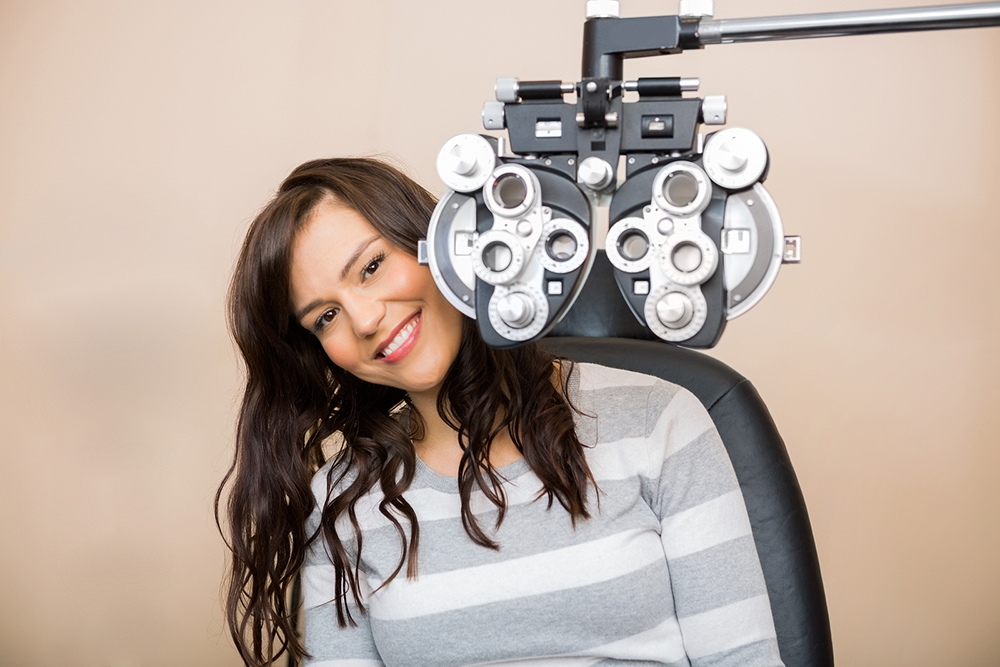 Woman getting an Eye and Vision Exam